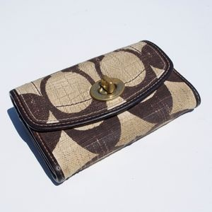 Coach Signature Fabric Brown Small Toggle Wallet